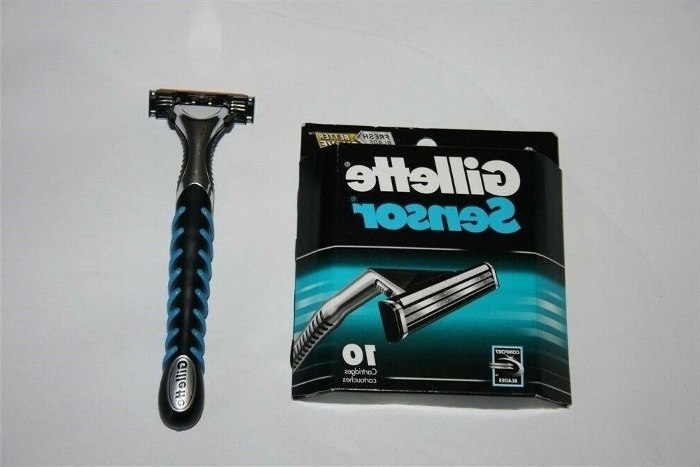 *10 Gillette Razor Blades Cartridges Shaver Handle 3 5