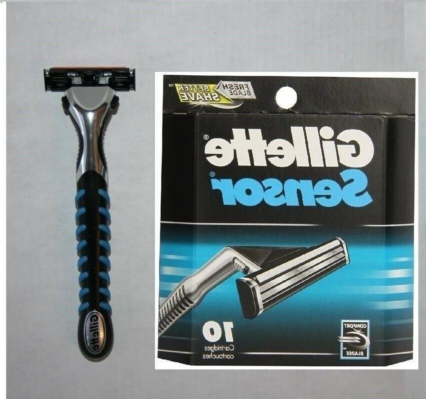 10 sensor razor blades cartridges refills shaver