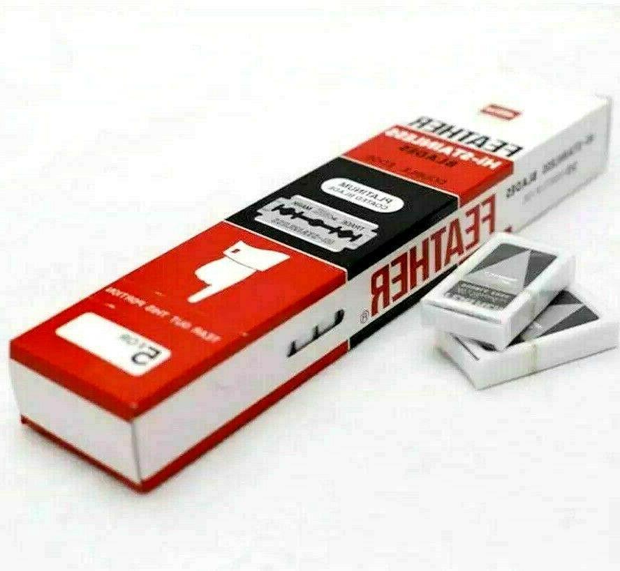 100 FEATHER Hi Stainless Platinum Double Edge Razor Blades 5
