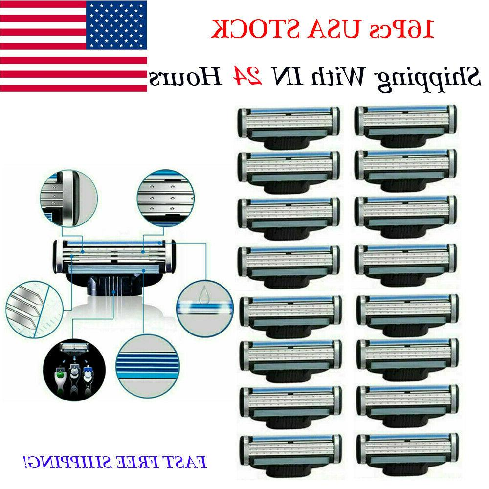 16PCS Mens Gillette Mach 3 Cartridges Razor Blades Fusion Sh