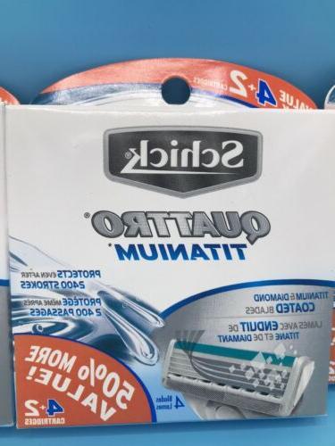 18- Count, Schick Quattro Titanium Cartridges Men