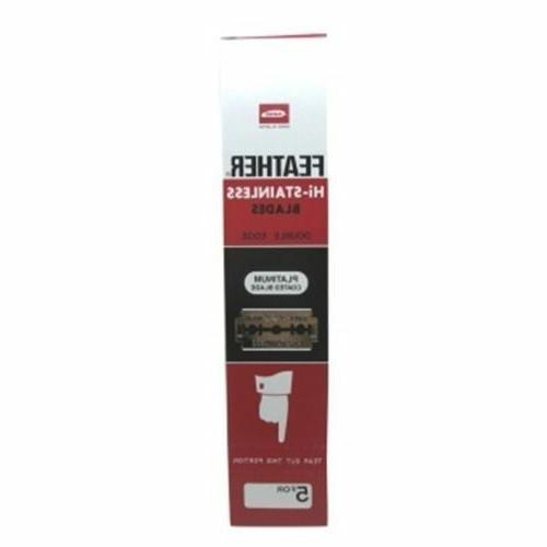 20-Feather-razor-blades-pack-new-Hi-Stainless-double-edge-platinum-coated-red