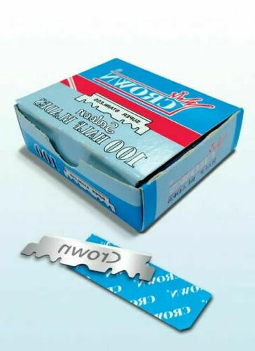 100 CROWN Razor Blades  Stainless Single edge For Shavette B