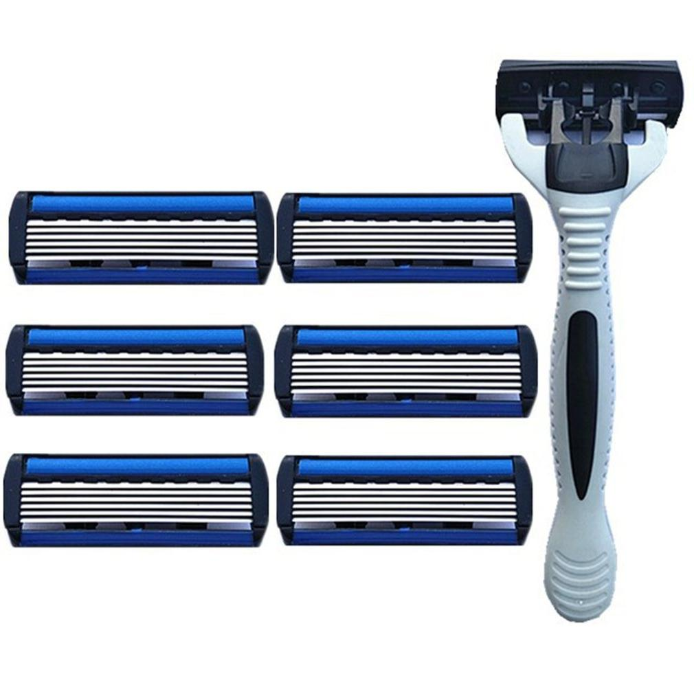 6-Layers Shaver 1 <font><b>Razor</b></font> Holder + 7 <font><b>Blades</b></font> Head <font><b>Razor</b></font> Blue Face Removal Women