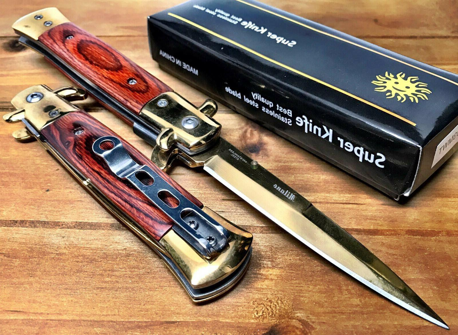 """8.75"""" Italian Milano Damascus Assisted Open Spring Pocket Kn"""