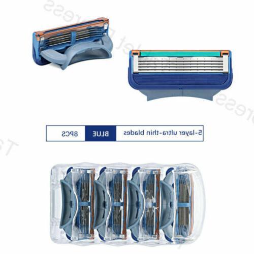 8PCS FUSION Proglide POWER Razor Blades Blue
