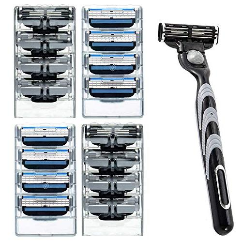 Men's 3 Razor Blades Refills Cartridge Pack with Shaving R