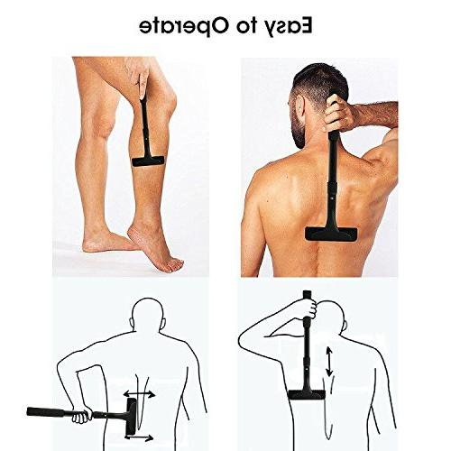 Vansky Back Shaver Stainless 3PCS Edge Blades, Extreme Reach Body Extra-Long Pain-Free Shaver, Easy or