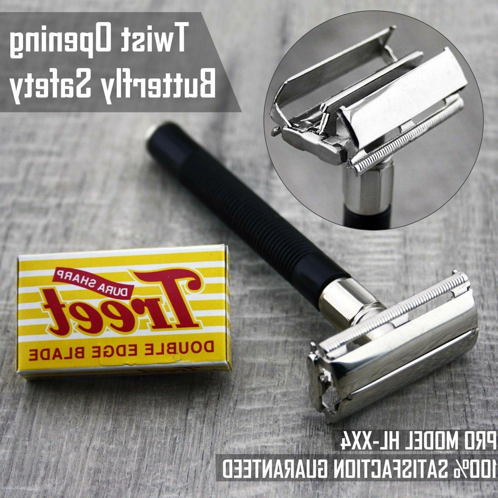 Butterfly Safety Razor & 5 Treet Double Edge Blades Classic