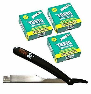 CS101 Stainless Steel Straight Edge Barber Razor White Handl
