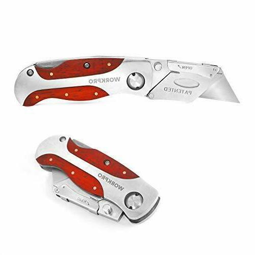 Box Cutter Utility Knife Folding Blade Razor With Hook Pocke