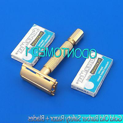 GOLD CLASSIC OLD FASHION SAFETY RAZOR WITH 15PCS DOUBLE EDGE