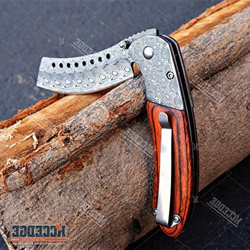 COMBO ASSISTED CLEAVER POCKET KNIFE ETCHED HUNTING CAMPING