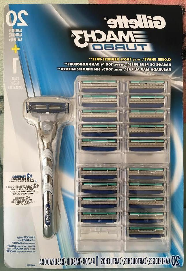 GILLETTE MACH 3 TURBO RAZOR BLADES 20 CARTRIDGES 1 RAZOR HAN