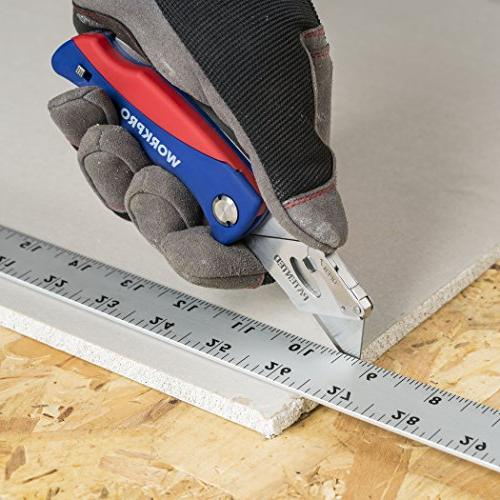 WORKPRO Folding Utility Knife Quick-change Box Storage 5 Extra Blade