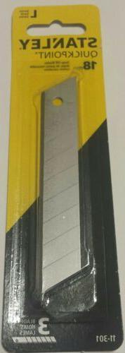 Stanley Quickpoint Snapoff Razor Blades.  18mm. 3 blades/pk