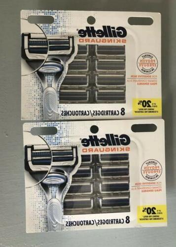 skinguard 2x8 razor blade refills 16 total