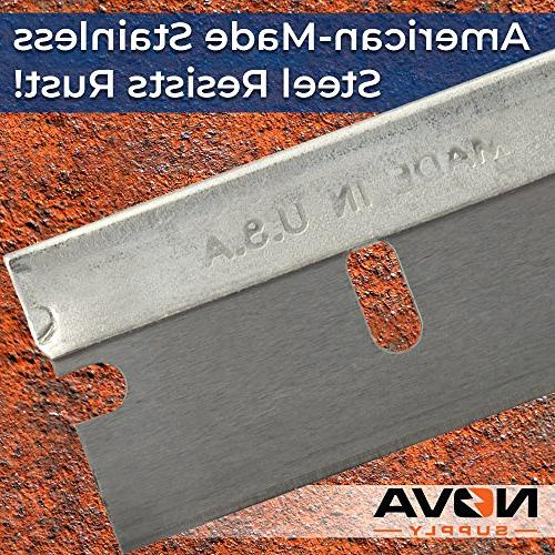 Ultra USA-Made Steel Razor Blades Bulk 100 Supply Bonus Cutter Single Edge in Blade for Scrapers and Tools in Reclosable