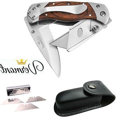 Utility Knife by Vermont Folding Box Cutter and New Leather
