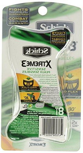 Schick Xtreme3 Triple Disposable Sensitive, 8 Ct