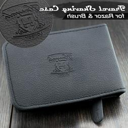 Leather Travel Case Zipper Shaving Pouch for Brush Razor & B