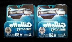 Gillette Mach 3 Refill Razor Blades 4 cartridges // 2 packs