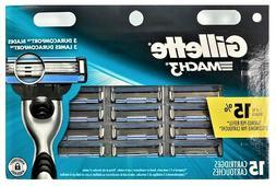 NEW Gillette Mach3 Mens Razor Blade Refills 15  Cartridges U