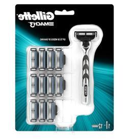 Gillette Mach3 Razor Handle + 12 Razor Blade Refill Cartridg
