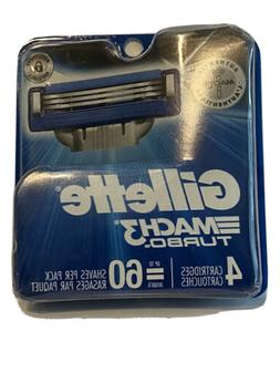 Gillette Mach3 Turbo Cartridges, 4 Count = 60 Shaves per pac