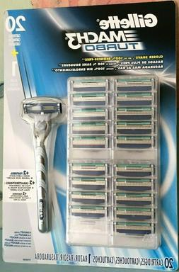 Gillette Mach3 Turbo Razor Handle + 20 Cartridges - Free Shi