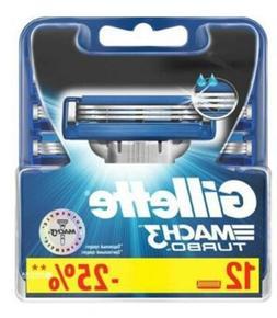 Mens Gillette MACH3 Turbo Refills Razor Blades - 12 Cartridg