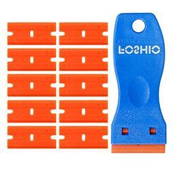 """FOSHIO 1.5"""" Mini Razor Plastic Double Edged Blade Scraper wi"""