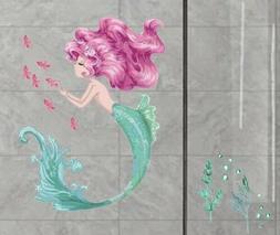 "NEW 30""x24"" Mermaid w/Pink Fish Bathroom Tile / Wall Dec"