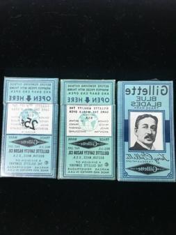 NOS Vintage Gillette Blue Blades Double Edge Safety Razor Bl