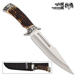 Ridge Runner Pronghorn Prairie Bowie Knife and Sheath - Faux