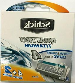 Schick Quattro Titanium Refill Razor Blades, 6 Ct.