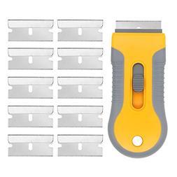 EEFUN Razor Blade Scraper with 10pcs Carbon Steel Blades for