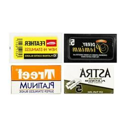 Razor Blade Sample Pack :Derby Premium, Feather, Astra and T