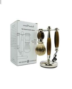 ROCKWELL RAZORS THREE-PIECE SHAVE SET BROWN+ 5 BLADES. CANAD