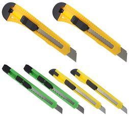 Ram-Pro 6 Pack Retractable Heavy Duty Razor Knife Set, Rubbe