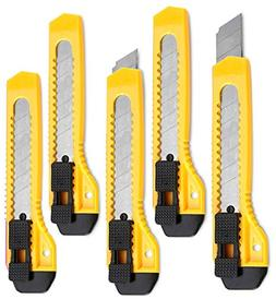 Retractable Utility Knife - 5 Pack 6 Inch Manual-Lock Snap o