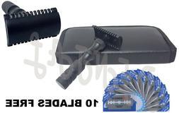 Safety Razor Double Edge Black Razors + 10 Free Blades/Pouch