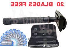 Safety Razor Double Edge Black Razors + 20 Free Blades/Pouch