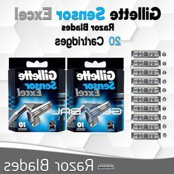 Gillette Sensor Excel Razor Blades 20 Cartridges Shave Men's