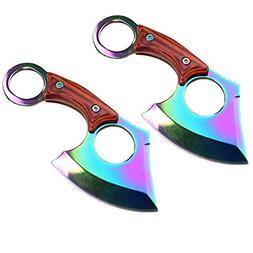 "Tactical 2pc Set 6"" Hunting Rainbow Pakka Wood Titanium Stra"