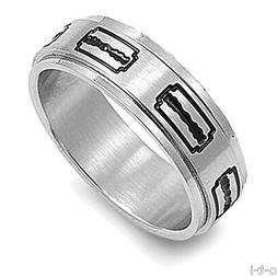 Silver & Black Razor Blades Men's Barber Spinner Band Ring S