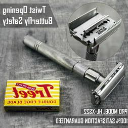 Stainless Steel Butterfly DE Shaving Safety Razor with 5 Bla