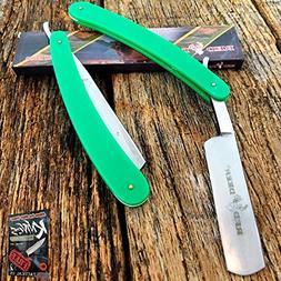 Straight Edge Steel Razor Folding Shaving Green Handle Elite