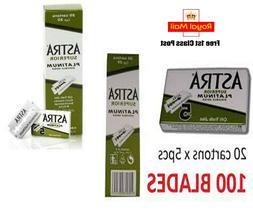 Astra Green Superior Platinum   100 Double Edge Razor Blades