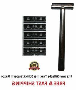 Supermax Razor 5 blades fits Gillette Trac II Plus Schick Su